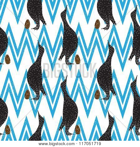 Seamless Vintage Pattern With Penguin