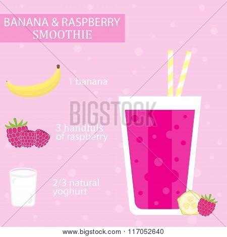 Banana and raspberry milkshake recipe.