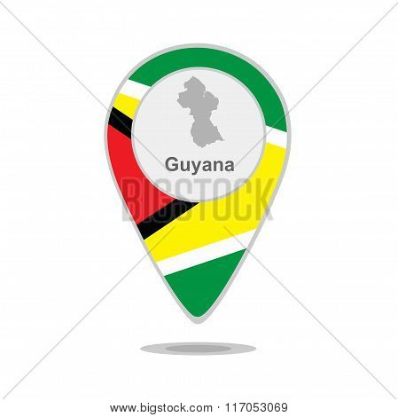 A pointer with map and flag of Guyana
