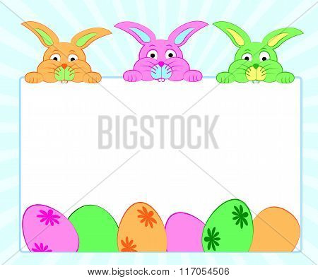 Background With Rabbits And Eggs For Easter .