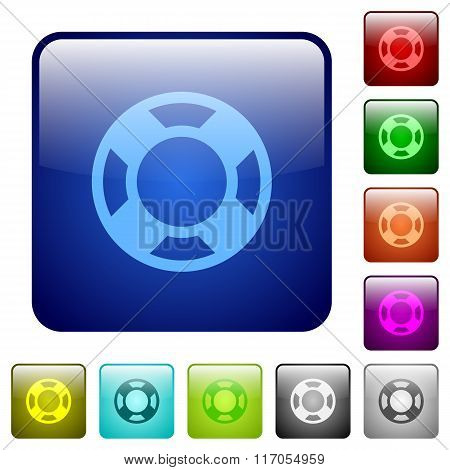 Color Lifesaver Square Buttons