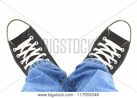 Black Canvas Sneakers, Top View