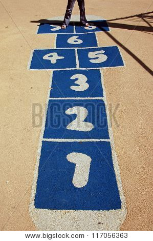 Close Up Of Play Hopscotch