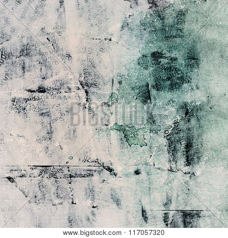 Grunge painted torn paper collage with different words, cracked scratched background