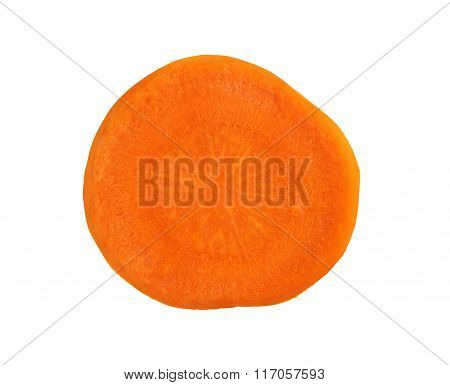 A Slice Of Carrot Isolated On White Background.