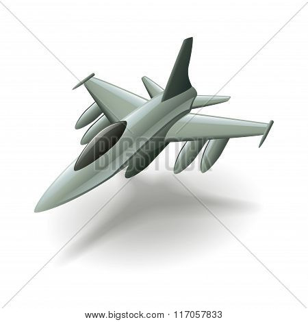 Military Aircraft Isolated On White Vector