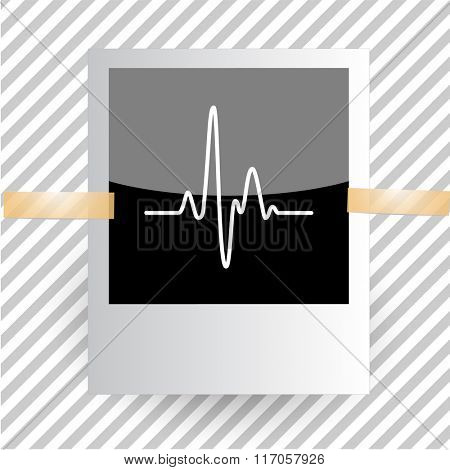 cardiogram. Photoframe. Raster icon.