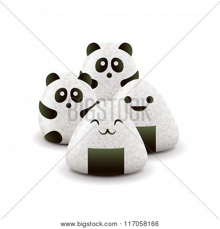 Onigiri Isolated On White Vector