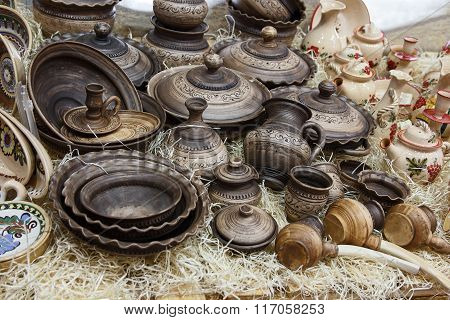 Sets Of Ceramic Tableware In Ethnic Style. Craft