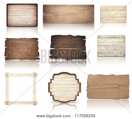 Brown wooden boards, signboard, planks and dark frame are isolated on white background