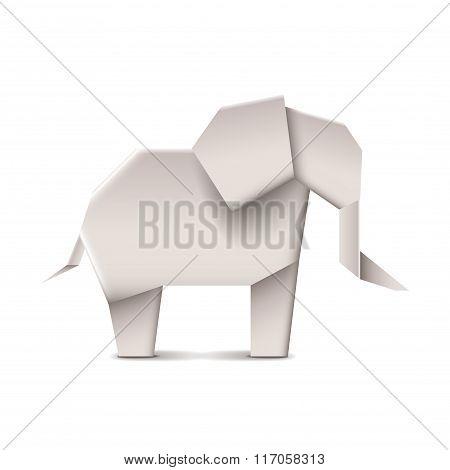 Origami Elephant Isolated On White Vector