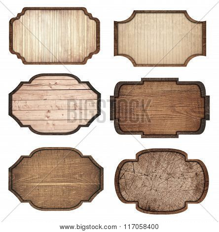 Set of brown wooden signboard, planks and dark frames are isolated on white background
