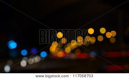 Blur Abstract Bokeh Of Street City Night Light Background