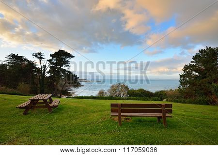 A Dinner Place And Outdoor Seats In Douarnenez, France