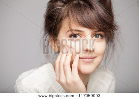Close Up Portrait Of Young Smiling Brunette Woman