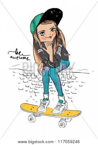 skate girl illustration