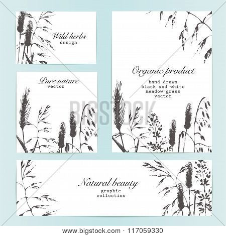 Vector Design Template With Meadow Grass Inky Silhouettes