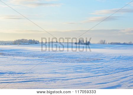 Winter Landscape. Snowcovered Farmland Fields During Sunset.