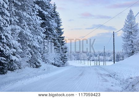 Rural Winter Road Through A Pine Forest With Snowcovered Power Lines