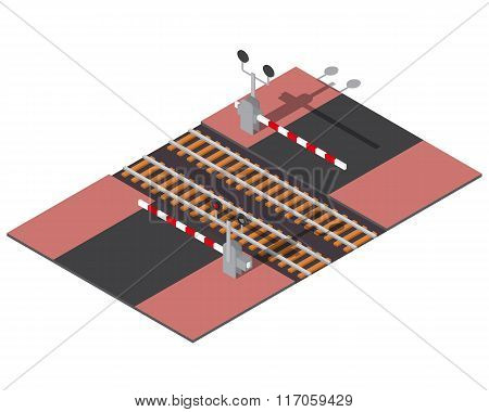 Isometric railway barriers
