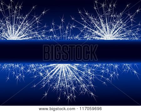 Sparkle Fireworks On Blue Background.