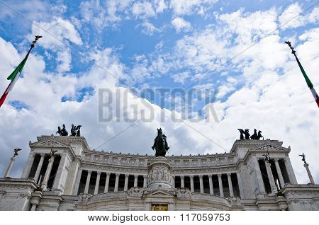 View From The Bottom To The Top Of The Detail Of The Victorian In Piazza Venezia In Rome