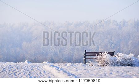 Bench Facing A Snowy Panorama Of Gauja River In Sigulda