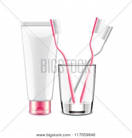 Toothpaste And Brush Isolated On White Vector