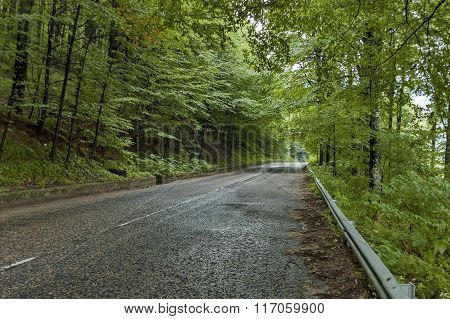 Picturesque road at Balkan mountain in rainy day