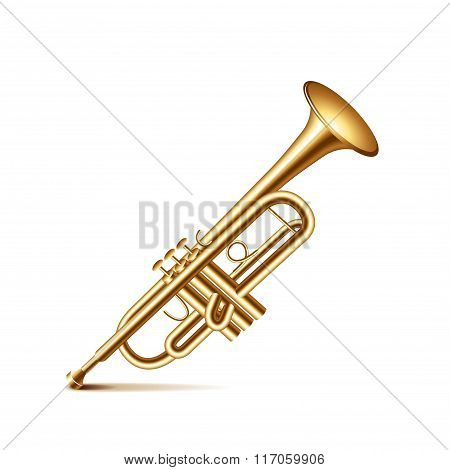 Trumpet Isolated On White Vector