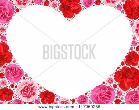 Heart Symbol From Motley Flowers On White