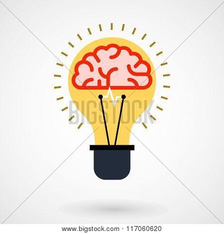 Brain in light bulb - idea conceptual icon