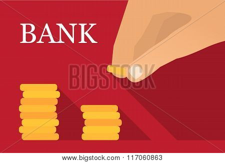 Saving money flat vector