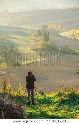 man taking photo in Italy