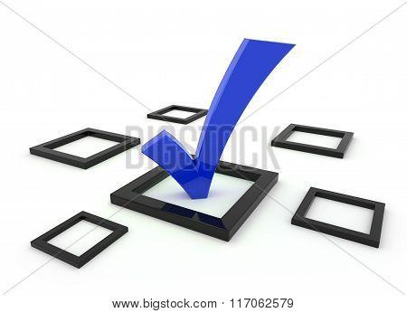 Blue 3D Tick Symbol