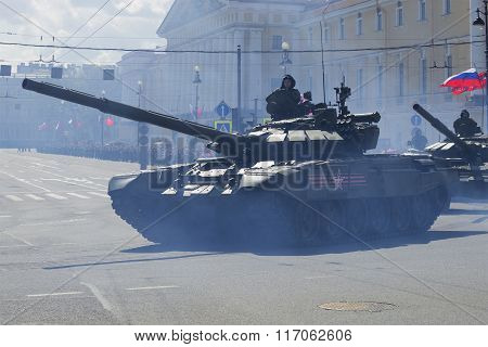 T-90 tank rides on the square at the parade in honor of Victory day. St. Petersburg