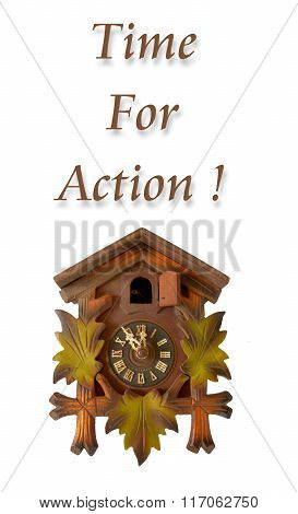 Picture of a Wall clock with phrase time for action
