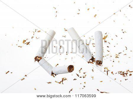 Broken Cigarette On White
