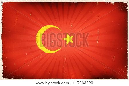 Vintage Turkey Flag Poster Background