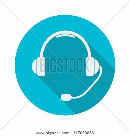 Headphones with microphone. Support Icon or sign. Flat style. Vector illustration.