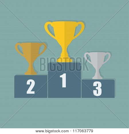 Gold, Silver and Bronze Trophy Cup on prize podium. First place award. Winners vector illustration.