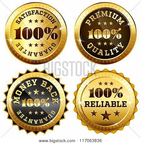 Set of 4 business seals in gold and black