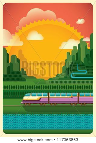 Railway through the nature. Vector illustration.