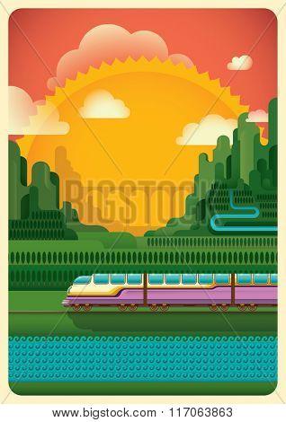 Railway through the nature. Vector illustration.
