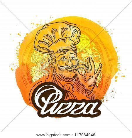 pizza restaurant vector logo design template. chef or home baking icon
