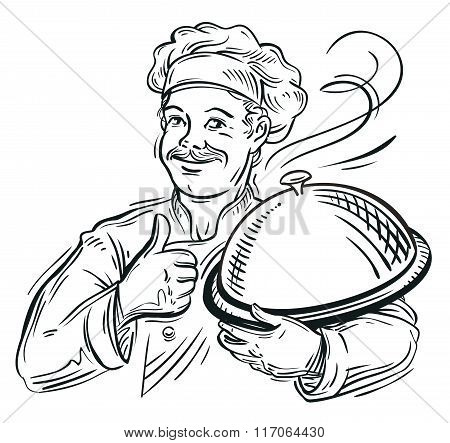 chef with a tray in his hand. vector illustration