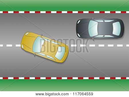 Yellow Car Overtaking Black Car