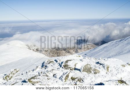 Clouds Over Snow Winter Mountain, Bulgaria