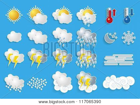 Weather Icons For Meteorology Forecast