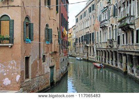 Venice, Italy - September 02, 2012: Old Typical Buildings On Narrow Channel In Venice, Italy